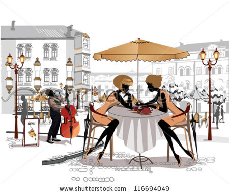 Chatting Girls Musician Street Cafe Old Stock Vector 116694049.
