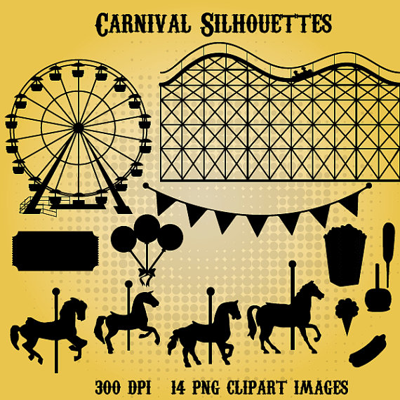 Carnival Silhouettes 14 png 300dpi clipart Instant by SquidInkShop.