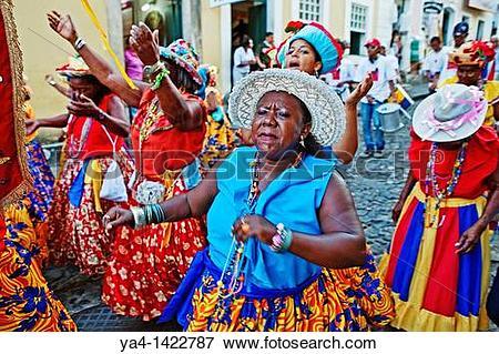 Picture of Street carnival, dance group,Pelourinho,Salvador ,Bahia.