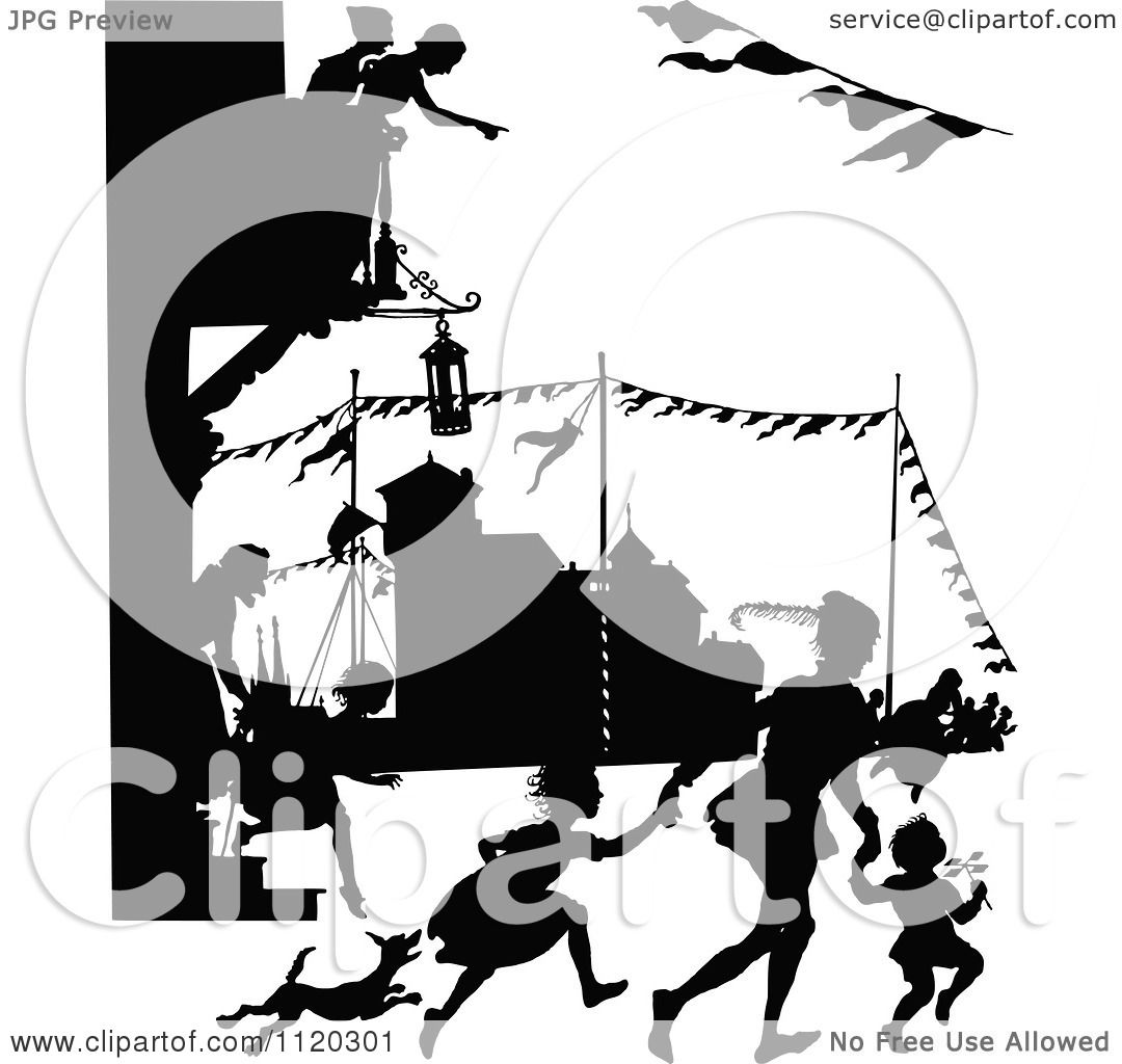 Clipart Of Silhouetted People At A SStreet Carnival.