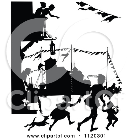 Clipart Of Silhouetted People Shooting Cannons And Celebrating In.