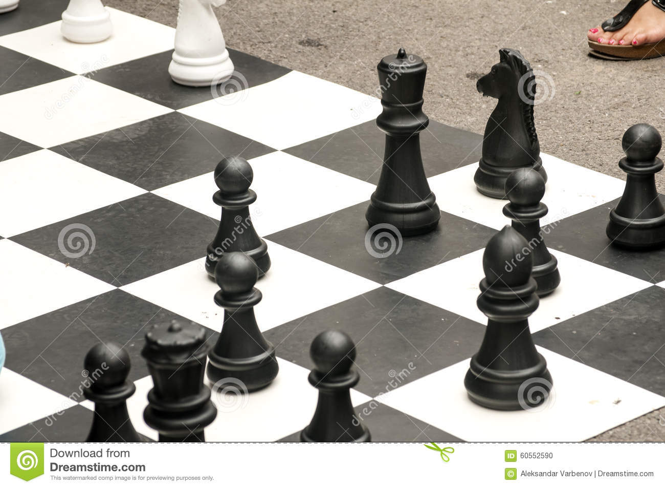 Big Chess Pieces For Street Chess Stock Photo.