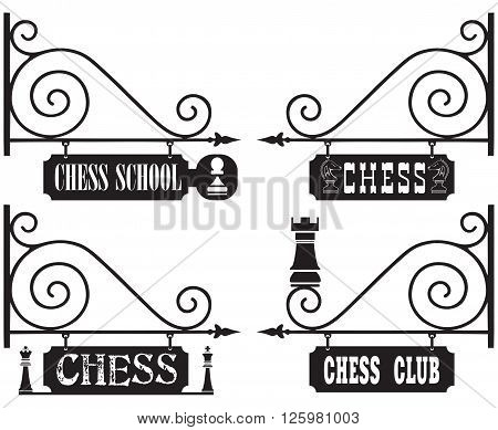 A set of street signs for chess clubs chess schools competitions.