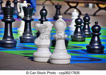 Stock Photos of Street chess at a square in Montreal canadfa.