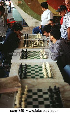 Stock Photograph of Street Chess Players Caracas Venezuela sam.