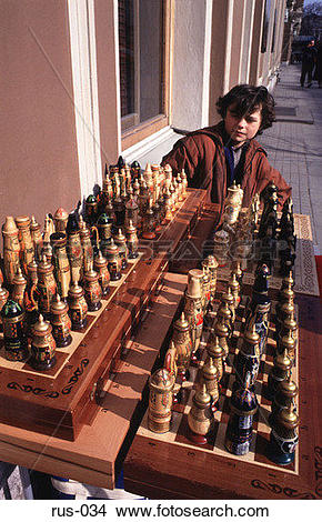 Stock Photo of Street Trader Selling Chess Set St Petersburg rus.