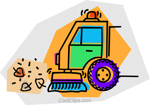 street sweeper Royalty Free Vector Clip Art illustration.