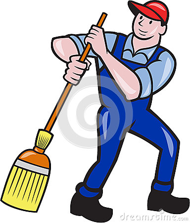 Male Janitor Cleaning Desk Stock Illustrations.