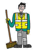 Stock Illustration of Street cleaner sweeping road u11096568.