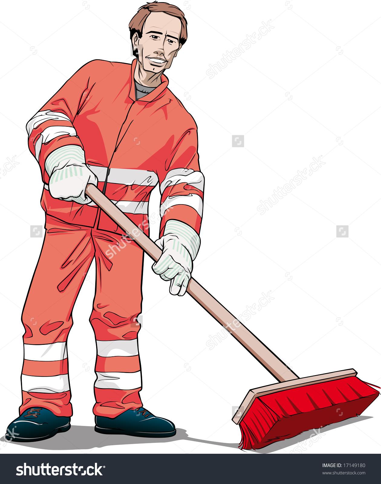 Street Cleaner Orange Uniform Stock Illustration 17149180.