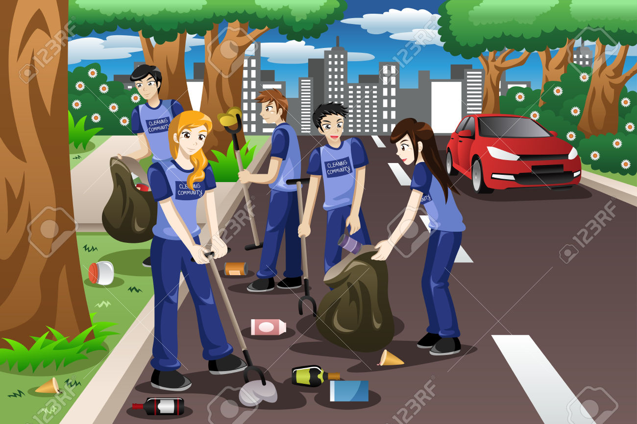 A Vector Illustration Of Kids Volunteering By Cleaning Up The.