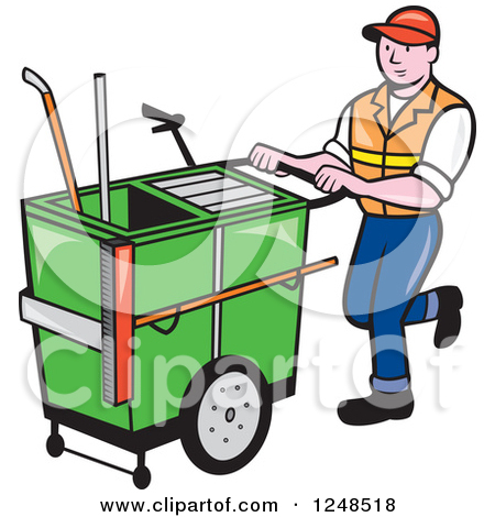 Clipart of a Retro Street Cleaner Man with a Broom over Rays.