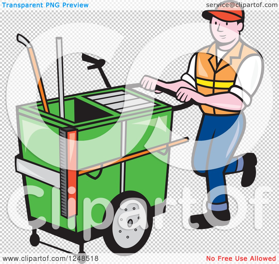 Clipart of a Cartoon Male Street Cleaner Worker Pushing a Cleaning.