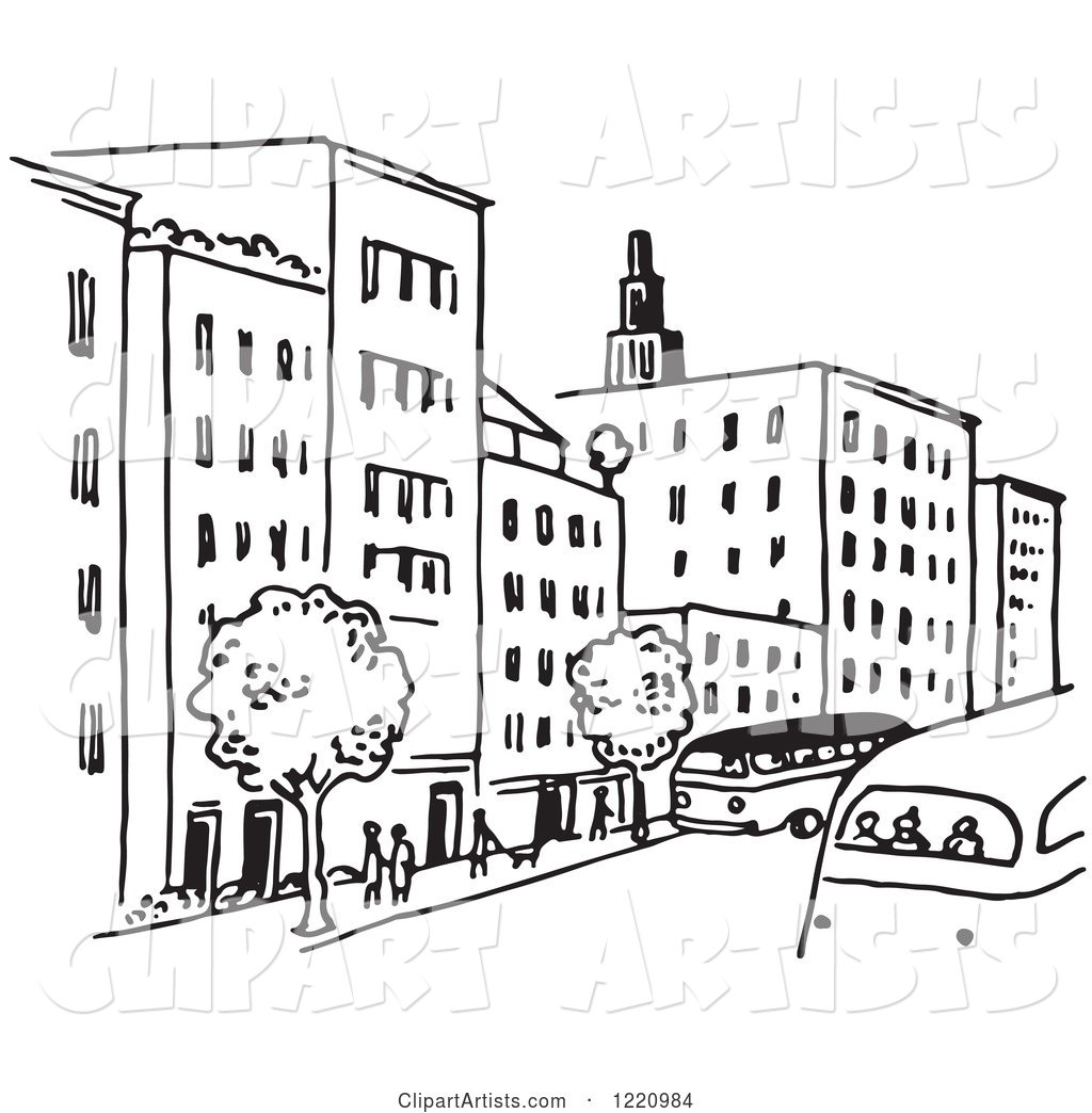 Black and White City Street Clipart by Picsburg.