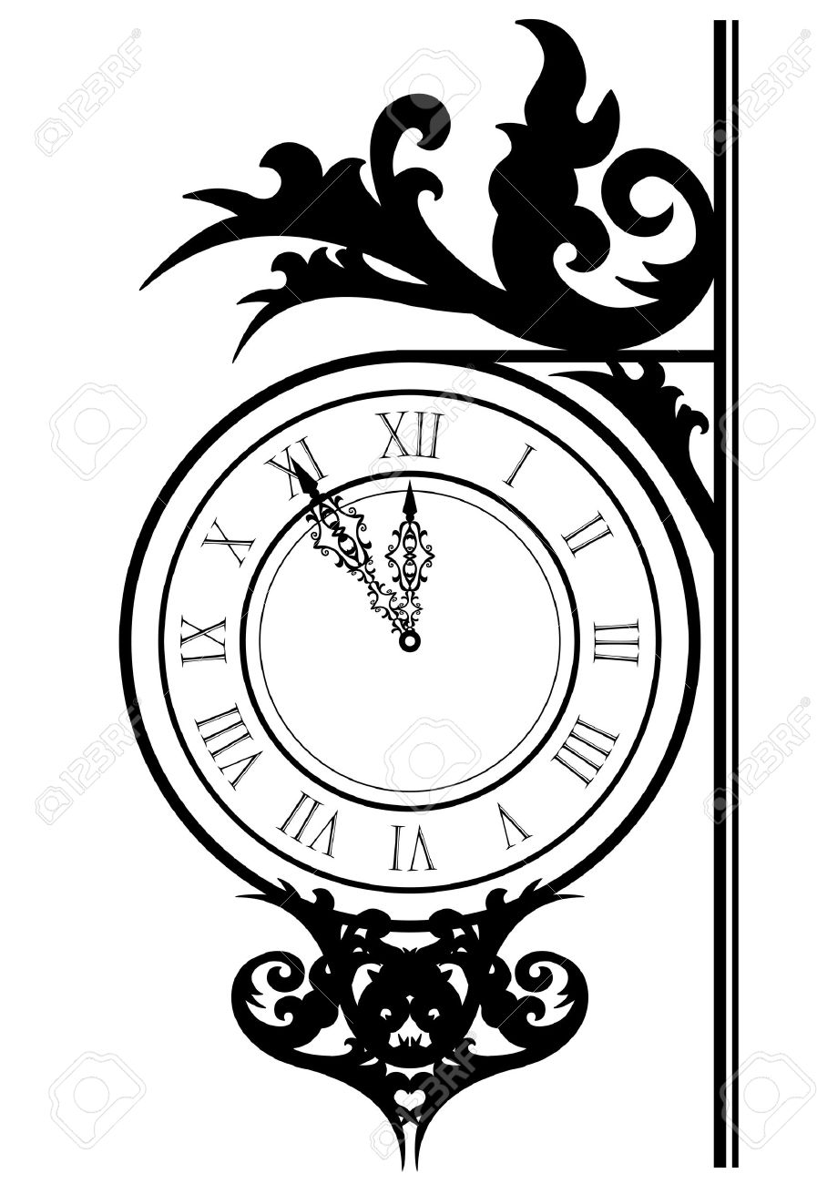 Vector Illustration Of Street Clock Royalty Free Cliparts, Vectors.