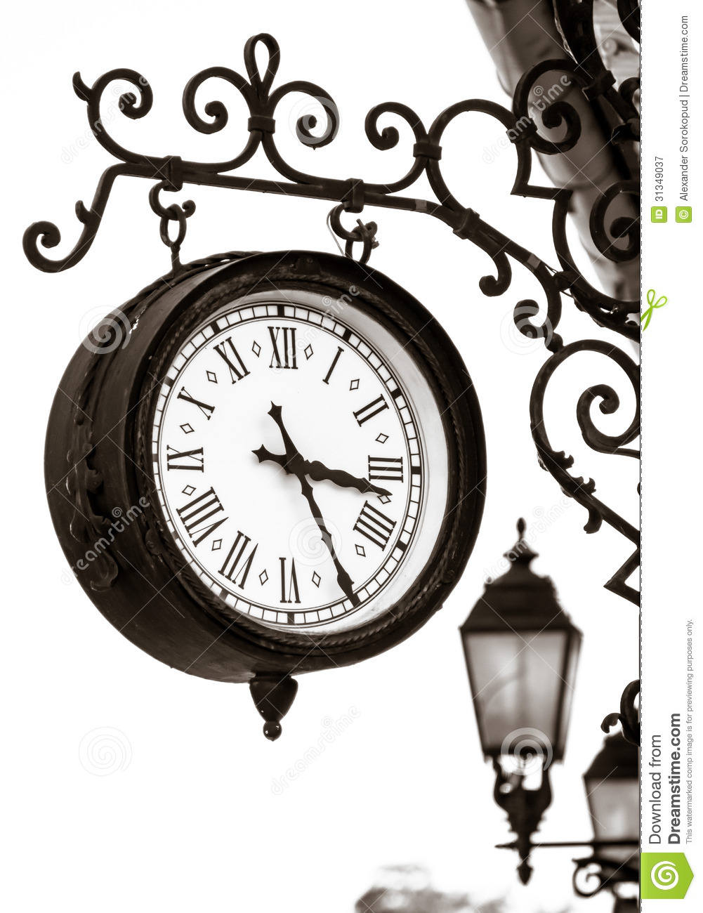 Vintage Style Street Clock View Royalty Free Stock Photography.