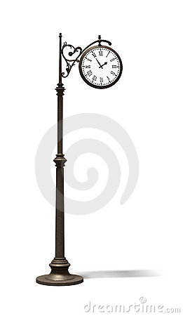 Bronze Street Clock Royalty Free Stock Photography.