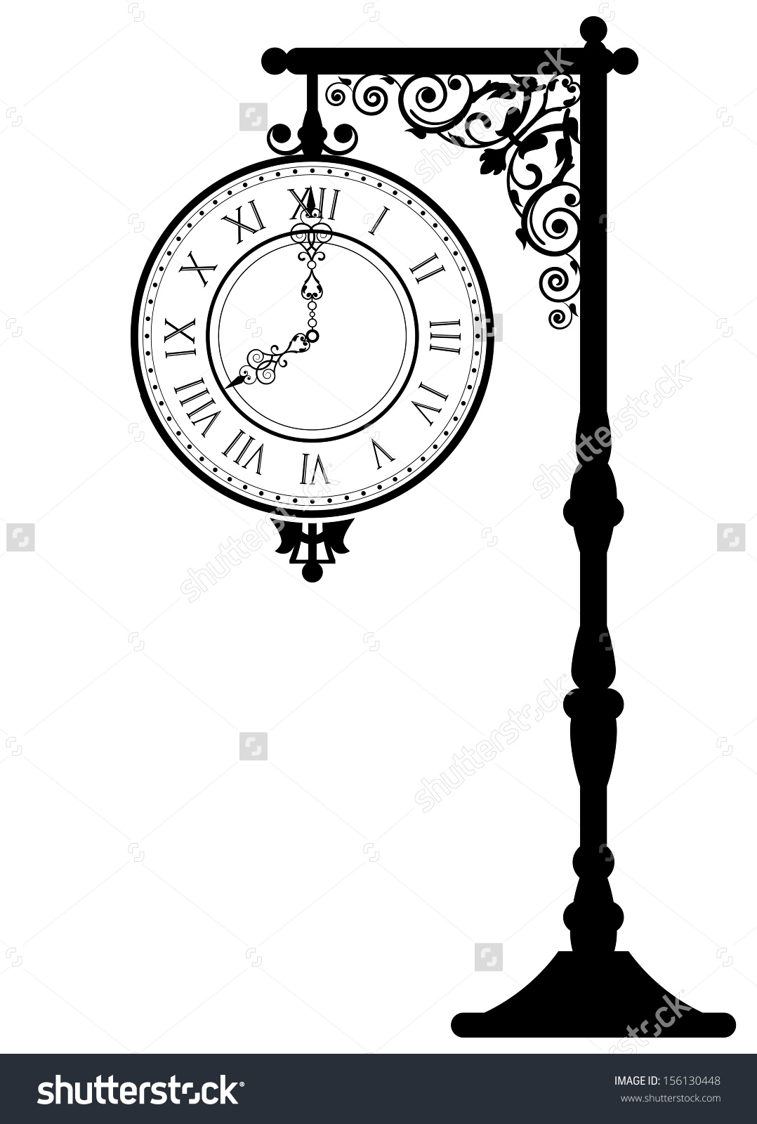Vector Illustration Vintage Street Clock Stock Vector 156130448.