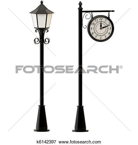 Stock Illustration of Street lamppost and clocks k6142397.