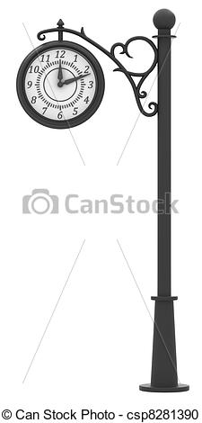 Stock Illustration of Street clock in the old style isolated on.