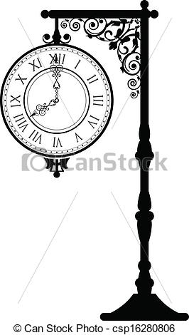 Vector Clipart of vintage street clock.