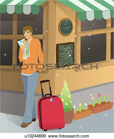 Stock Illustration of Tourist with a map on the street corner.