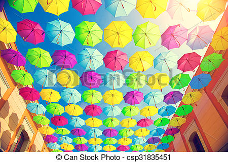 Stock Images of Colorful umbrellas urban street decoration.