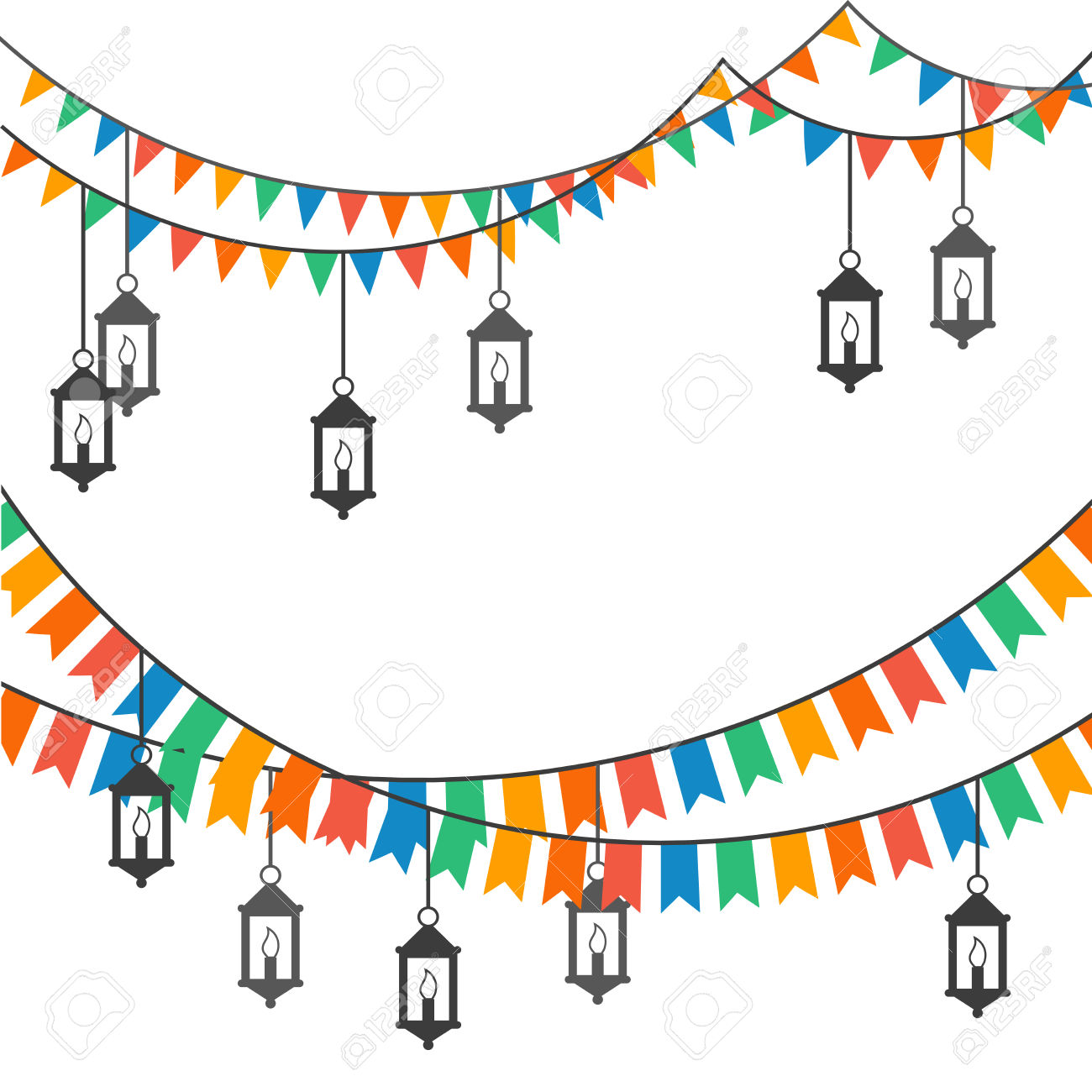 Street Decoration. Flags And Lanterns Royalty Free Cliparts.