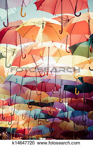 Stock Photography of Background colorful umbrella street.