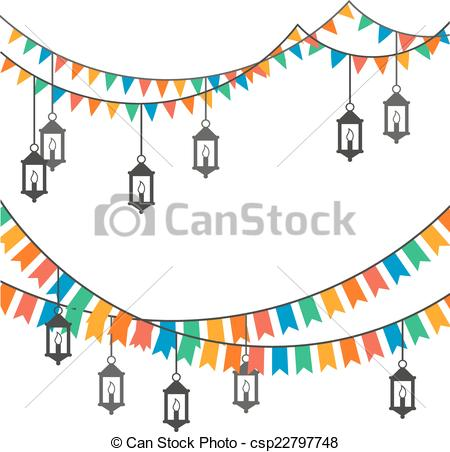 EPS Vector of Street decoration. Flags and lanterns csp22797748.