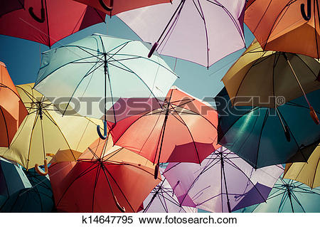 Stock Image of Background colorful umbrella street decoration.