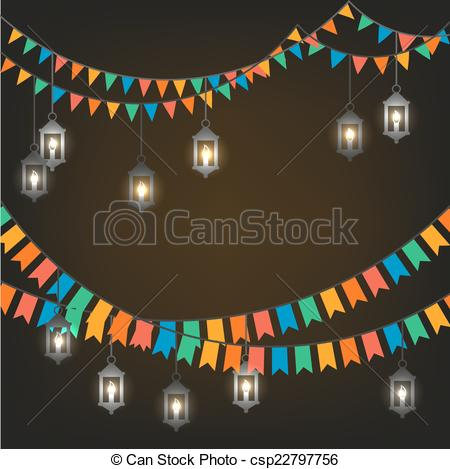 Clipart Vector of Street decoration. Flags and lanterns.