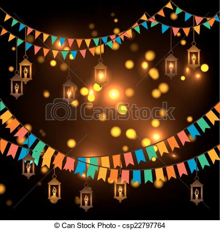 Clip Art Vector of Street decoration. Flags and lanterns.