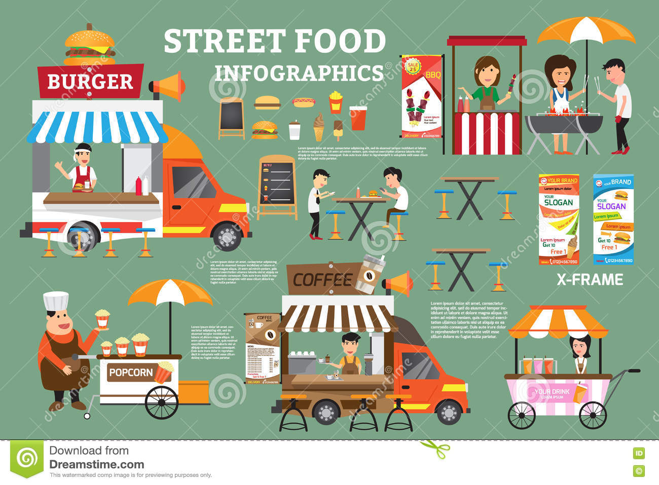 Street Food Infographics Elements. Detail Of Food Carts Stock.