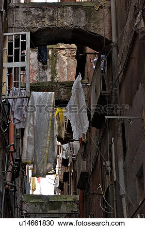 Stock Photography of Naples street detail with laundry hanging.