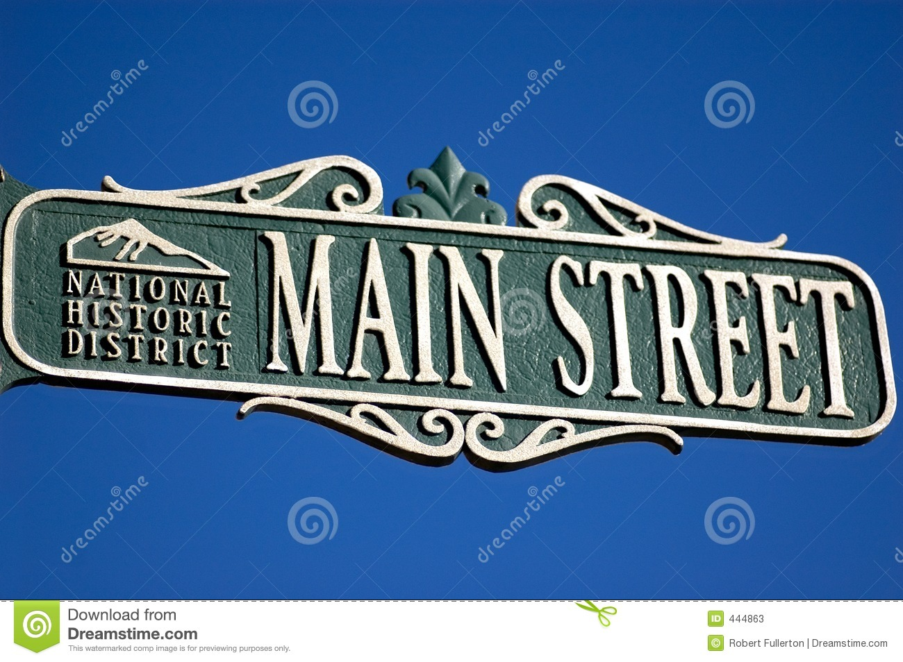Detail Of Decorative Street Sign Main Street National Hisoric.