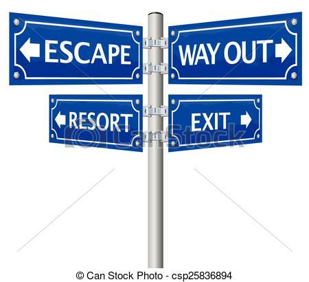 EPS Vectors of Exit Escape Way Out Street Sign.