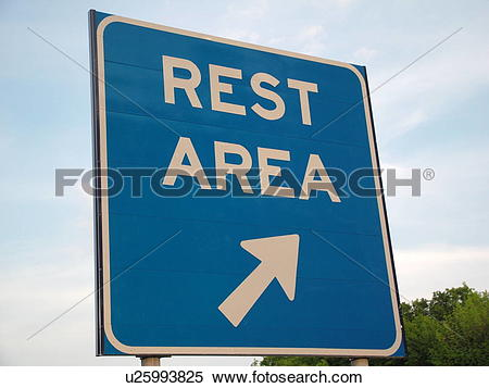 Stock Image of road signs, Rest Area, Right, exit u25993825.