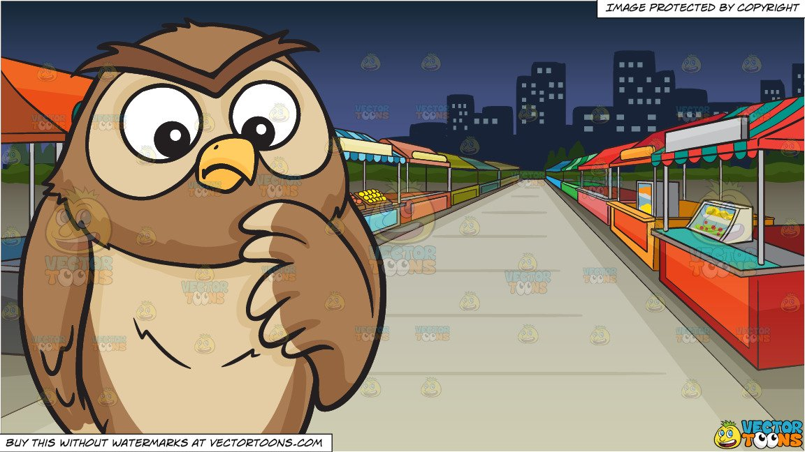A thinking owl and A Street Fair At Night Background.