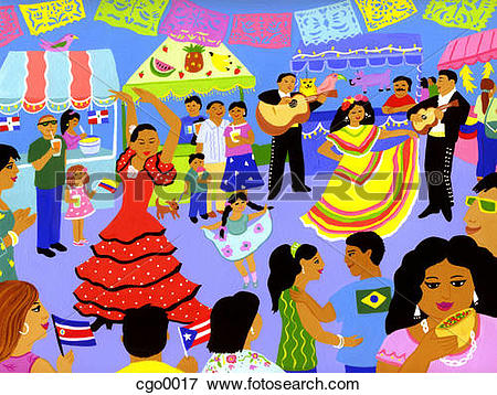 Stock Illustration of A Latin American street festival cgo0017.