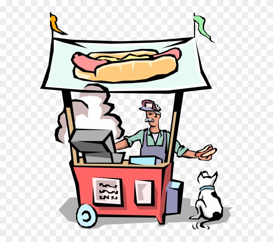 Vector Illustration Of Street Food Vendor Chef Serves.
