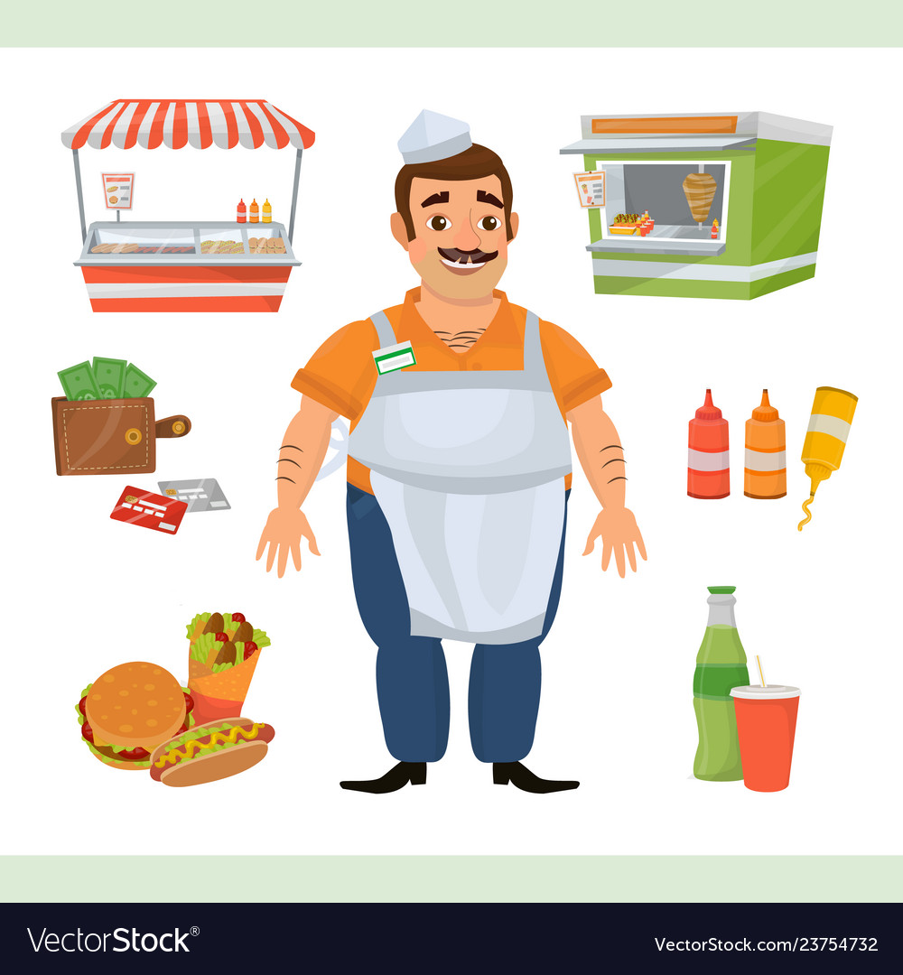 Clipart with street food seller character.