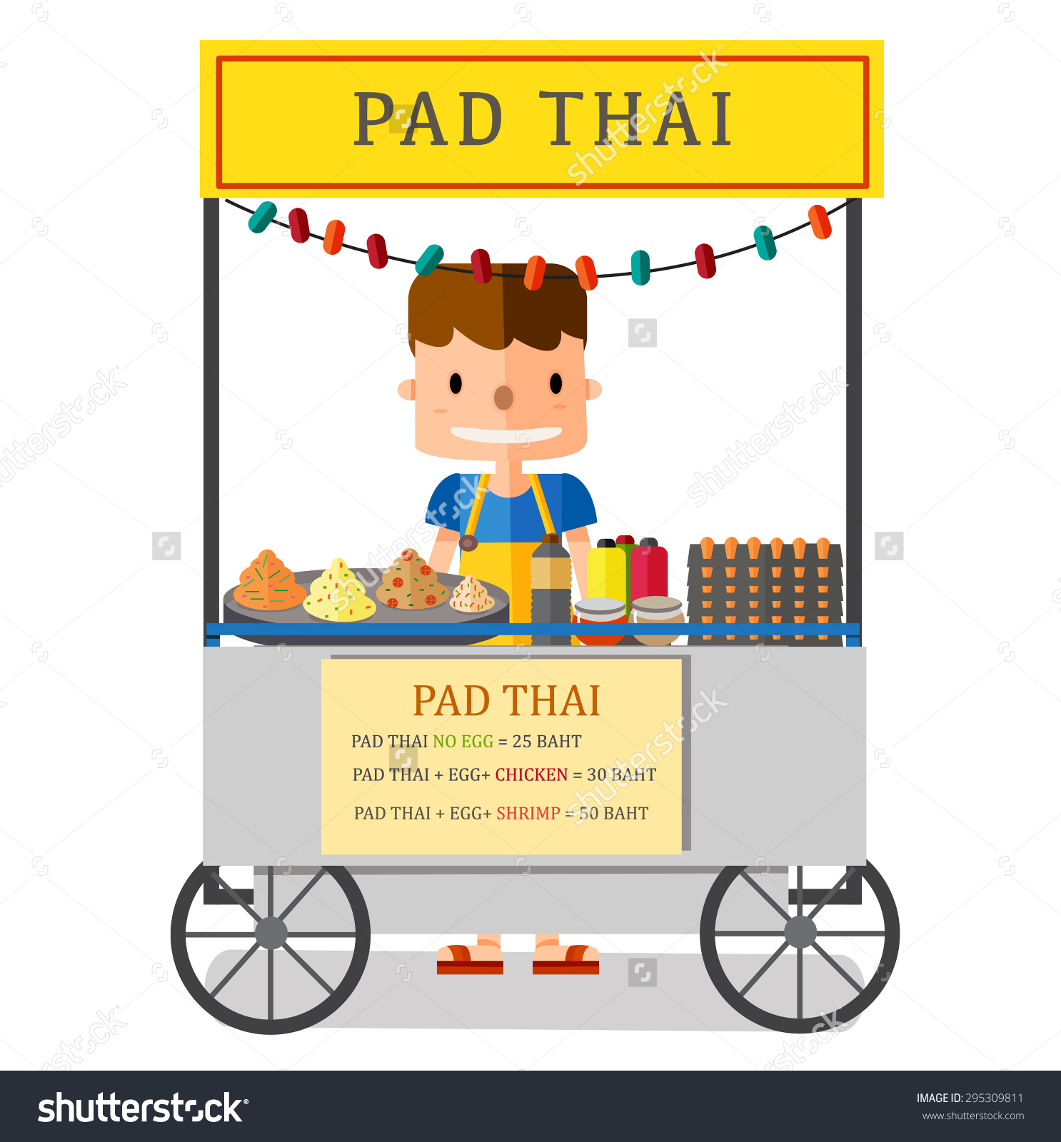 Street Food Pad Thai Vendor Bangkok Stock Vector 295309811.