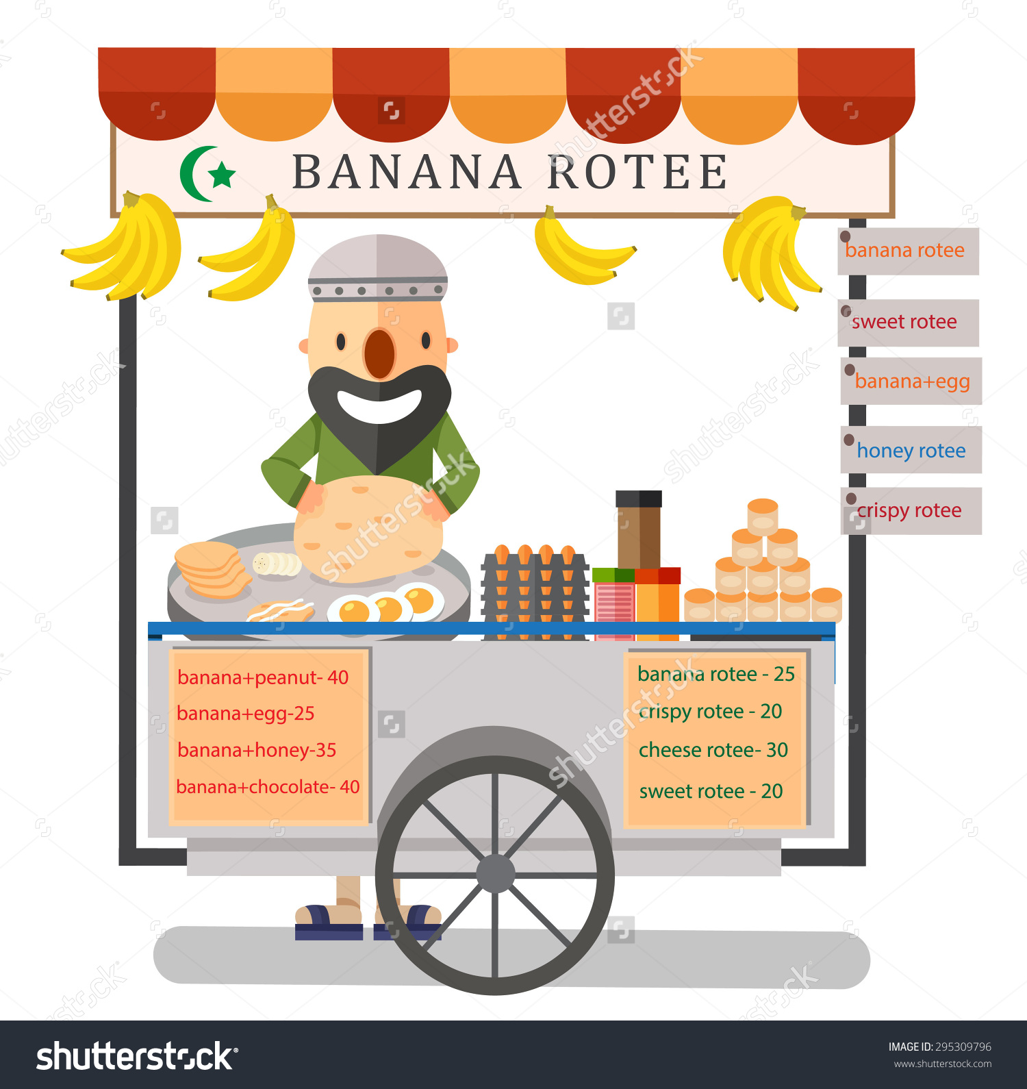 Street Food Rotee Vendor Bangkok Thailand Stock Vector 295309796.
