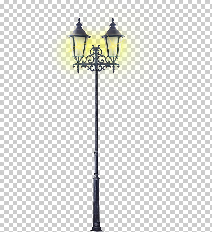 Street light Lantern, Braved yellow retro street lights PNG.