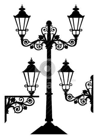 Old Street Lamps Clip Art.