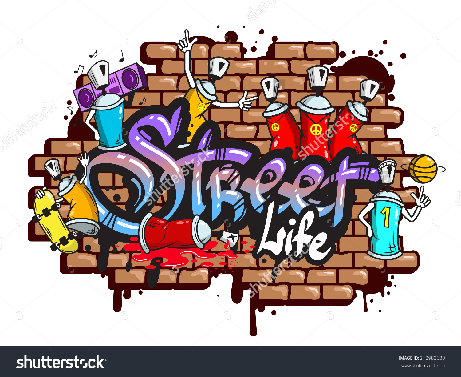 Decorative Urban World Youth Street Life Stock Vector 212983630.