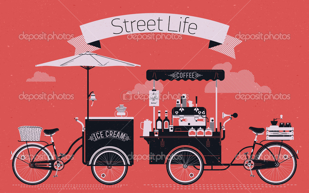 Street life with coffee and ice cream — Stock Vector © masha_tace.