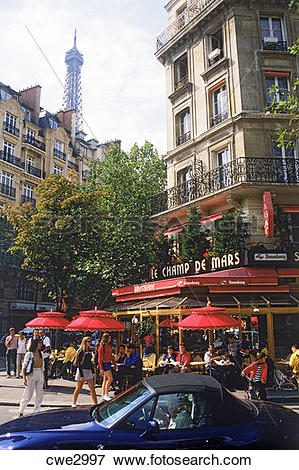 Picture of Street life and sidewalk cafe near Eiffel Tower in.