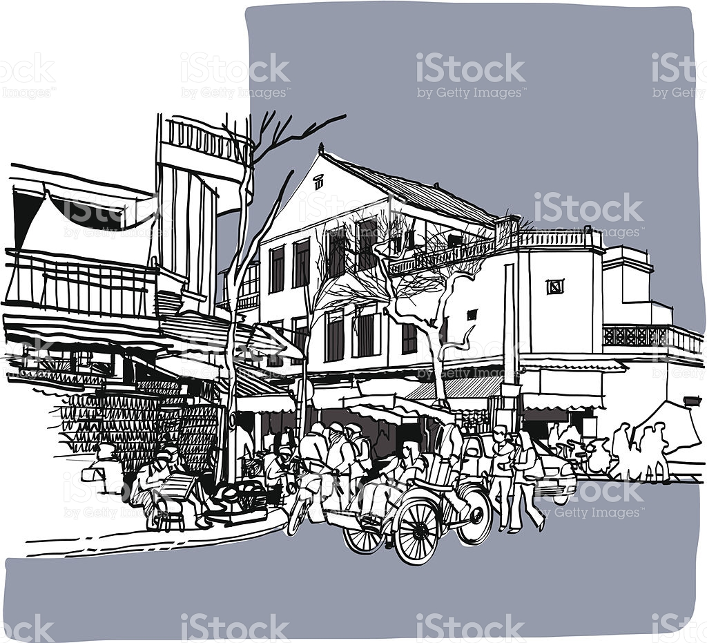 Street Life Sketchbook Vietnam stock vector art 185965191.